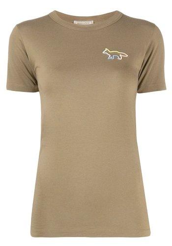 MAISON KITSUNE fitted rainbox t-shirt khaki