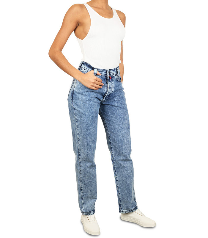 DENIM WITH EYELETS AND LOGO PATCH LIGHT BLUE