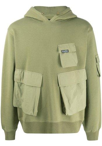 STUSSY cargo fleece hood khaki