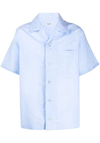 KENZO linen blend blue short sleeve shirt