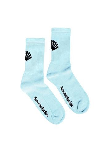 NEW AMSTERDAM SURFASSOCIATION logo socks light blue