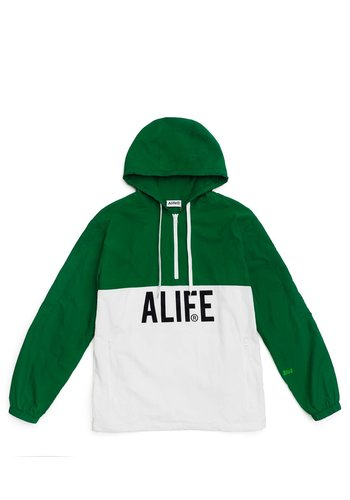 ALIFE registered logo half-zip hoodie hunter green white
