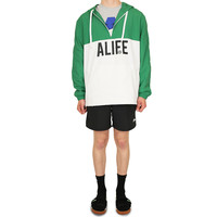 Registered Logo Half-Zip Hoodie hunter green white