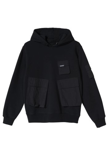 STUSSY cargo fleece hood black