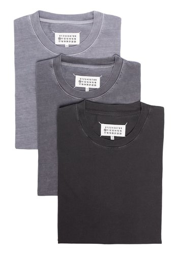 MAISON MARGIELA 3-pack t-shirts fog cement charcoal