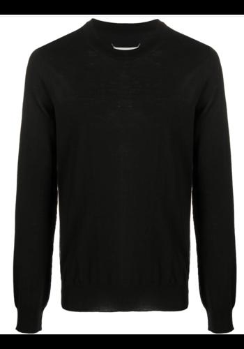 MAISON MARGIELA black knitwear pull white lines