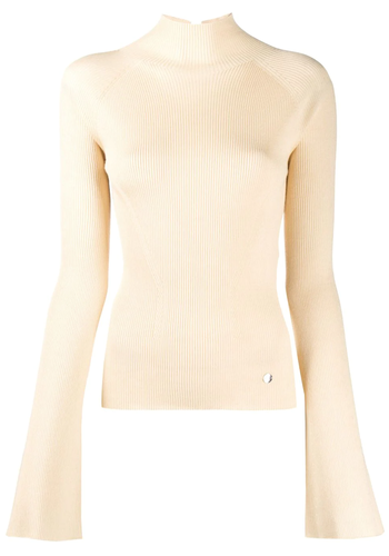 LANVIN turtleneck knitted jacket light beige