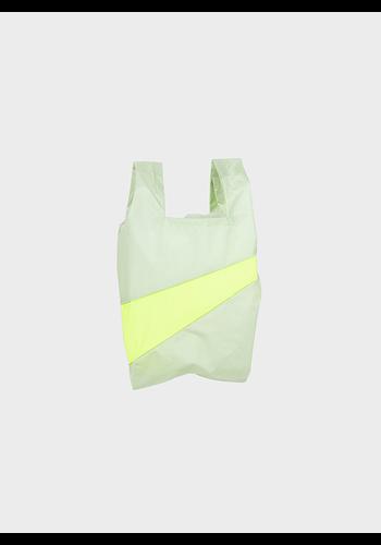 SUSAN BIJL shopping bag pistachio & fluo yellow s