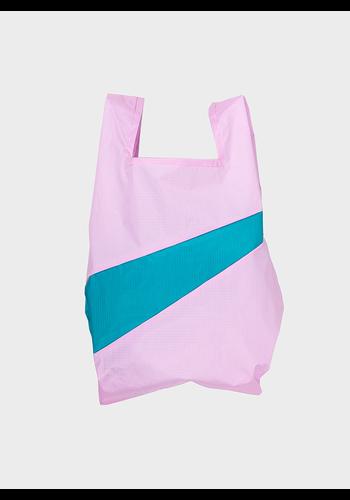 SUSAN BIJL shopping bag pale pink & peacock m
