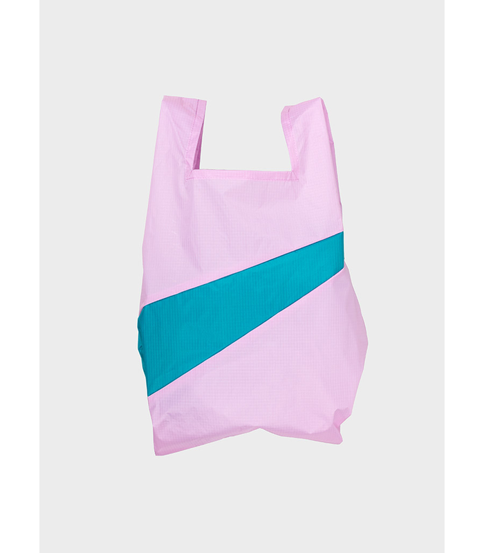 Shopping Bag Pale Pink & Peacock M