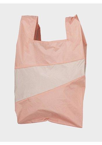 SUSAN BIJL shopping bag apricot & beige l