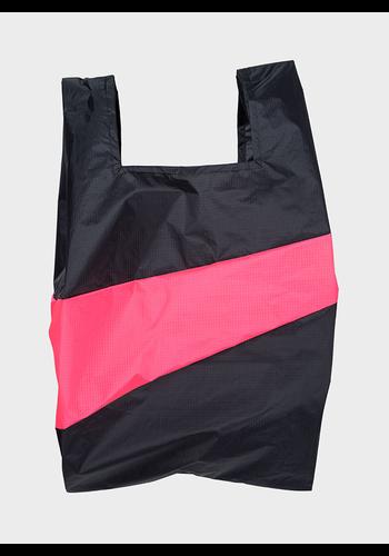 SUSAN BIJL shopping bag black & fluo pink l