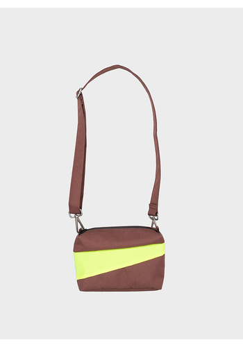 SUSAN BIJL bum bag brown & fluo yellow s