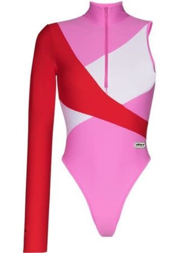 ADIDAS adidas x lotta volkova one sleeve swim clear pink red white
