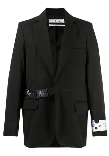 OFF-WHITE strap fastening blazer black