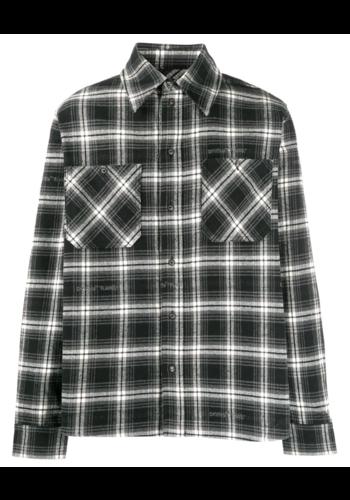 OFF-WHITE stencil flannel check shirt black