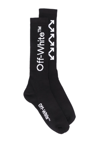 OFF-WHITE arrows mid length socks black white