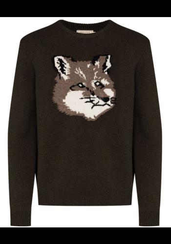 MAISON KITSUNE fox head pullover light khaki