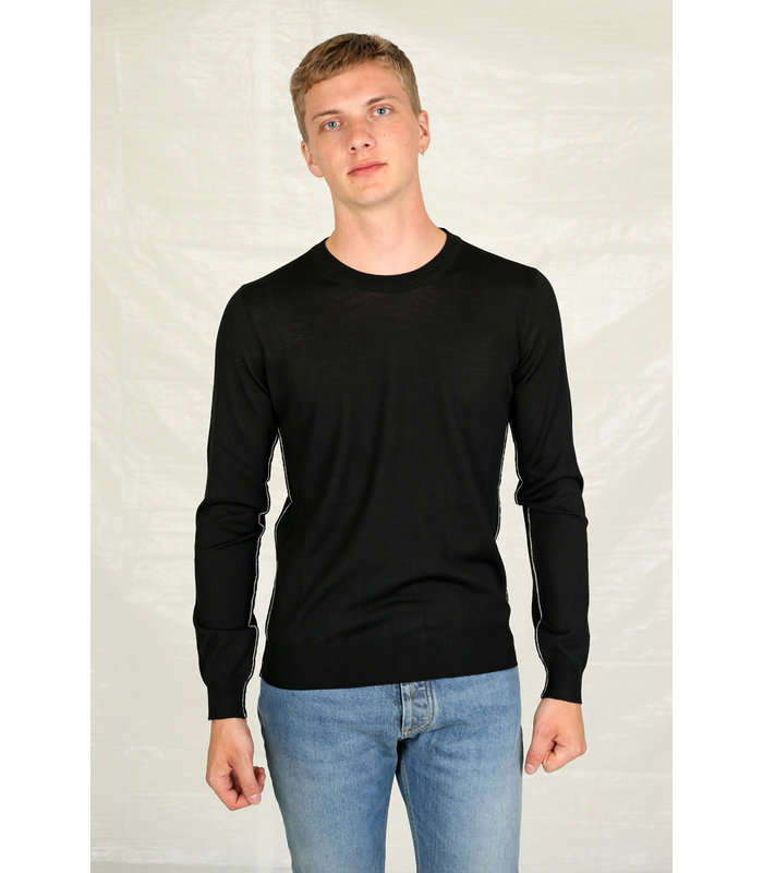 BLACK KNITWEAR PULL WHITE LINES