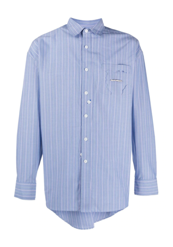 ADER ERROR zigzeg placket shirt blue