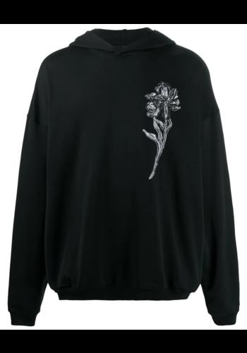 ANN DEMEULEMEESTER hoody trikot black print flower