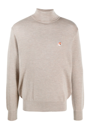 MAISON KITSUNE merino turtleneck fox head beige