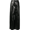 MM6 MAISON MARGIELA FAUX LEATHER WIDE LEG PANTS BLACK