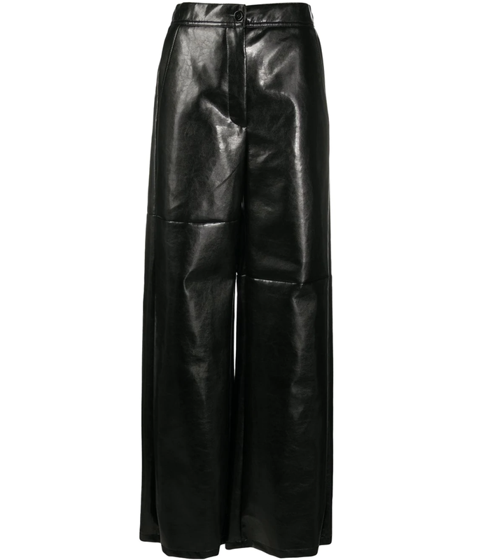 FAUX LEATHER WIDE LEG PANTS BLACK