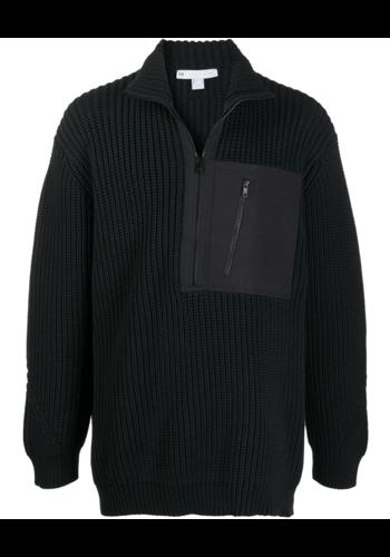 Y-3 knit half zip black
