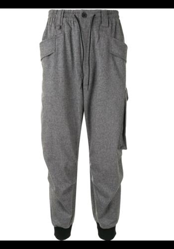 Y-3 classic wool flannel cargo trousers heather grey