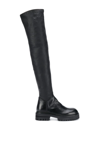 ANN DEMEULEMEESTER stretch leather thigh high boots