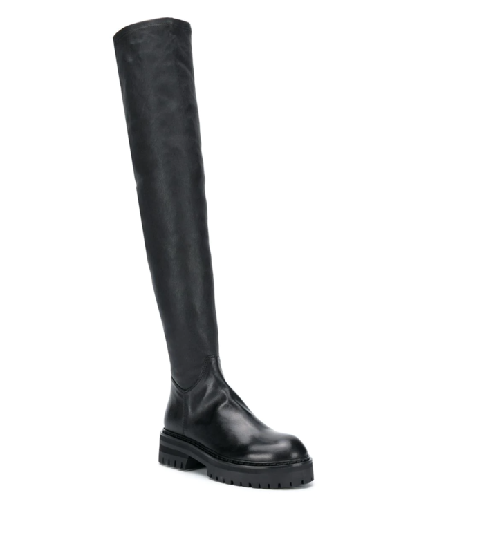 STRETCH LEATHER THIGH HIGH BOOTS BLACK