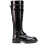 ANN DEMEULEMEESTER LEATHER BOOTS BUCKLE BLACK