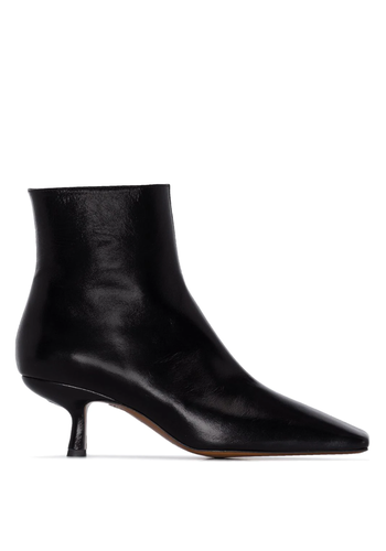 BY FAR lange creased leather boots black