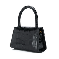 MINI CROCO LEATHER BAG BLACK