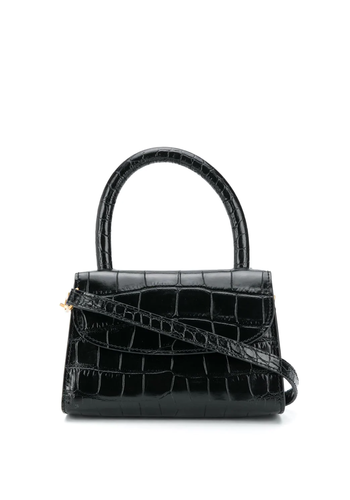 BY FAR mini croco leather bag black