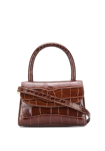 BY FAR mini croco leather bag nutella