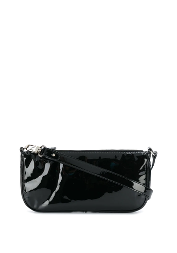 BY FAR rachel patent leather bag black