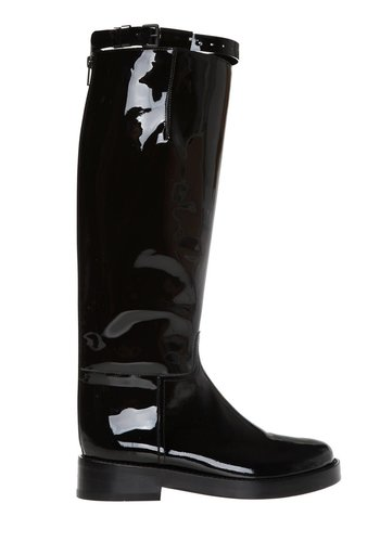 ANN DEMEULEMEESTER patent leather boots black