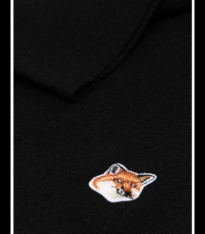 SMALL FOX HEAD WOOL SCARF BLACK