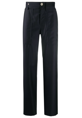 LANVIN pinstripe pants 24cm midnight blue