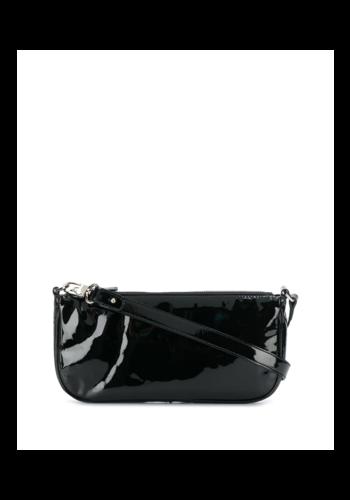BY FAR rachel patent leather bag black
