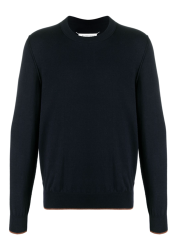 MAISON MARGIELA pullover elbow patch navy/brown