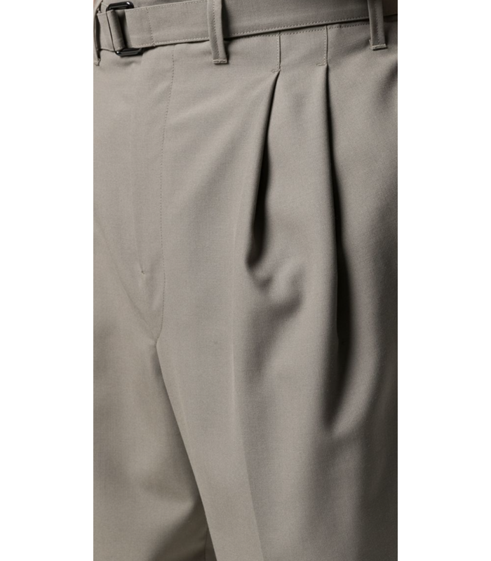 BELTED PLEAT PANTS TAUPE