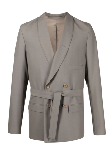 LEMAIRE belted db jacket taupe