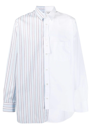 LANVIN patchwork long shirt white