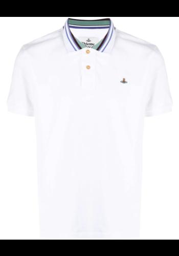 VIVIENNE WESTWOOD classic polo stripe collar white