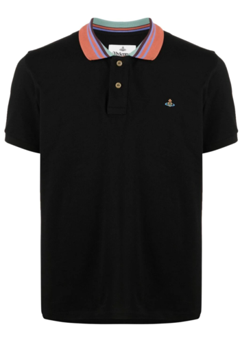 VIVIENNE WESTWOOD classic polo stripe collar black