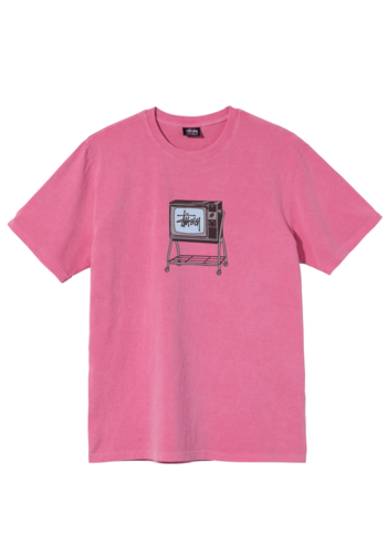 STUSSY rolling tv pig dyed tee pink