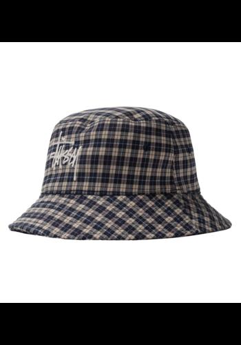 STUSSY basic plaid bucket hat off white